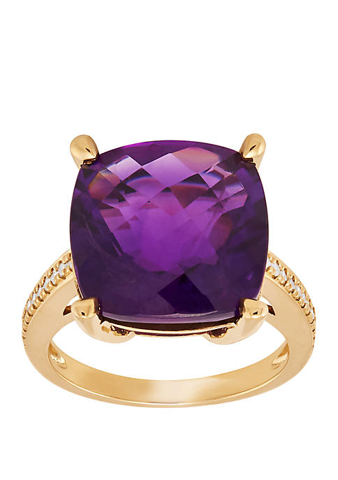 Amethyst Ring with 1/6 ct. t.w. Diamond in 10k Yellow Gold
