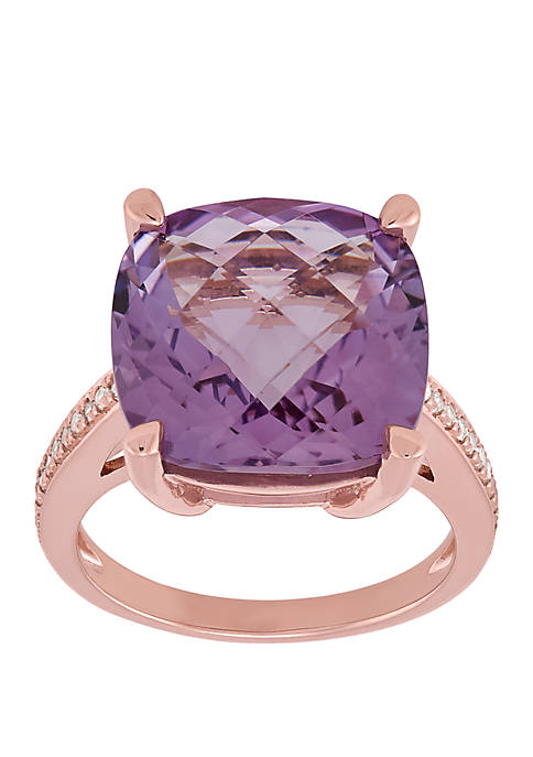 Pink Amethyst Ring with 1/6 ct. t.w. Diamond in 10k Rose Gold
