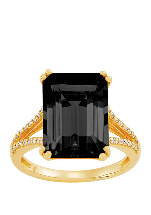 6.5 ct. t.w. Onyx and 1/6 ct. t.w. Diamond Ring in 10K Yellow Gold