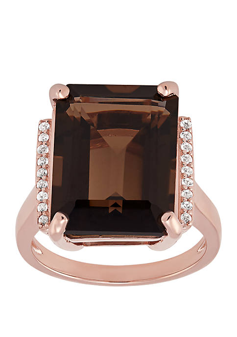 12 ct. t.w. Smokey Quartz Ring with 18 ct. t.w. White Topaz in 10K Rose Gold
