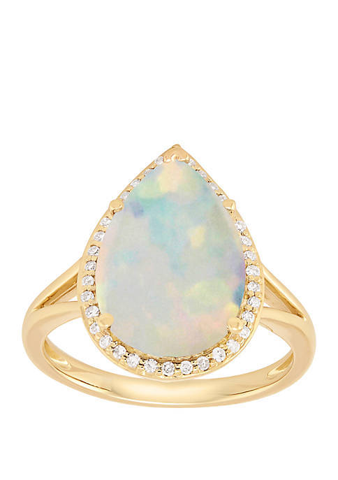 1 ct. t.w. Created Opal with 1/8 ct. t.w. Diamond Ring in 10K Yellow Gold