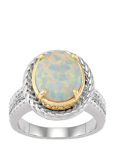 Created Opal, 1/10 ct t.w Diamonds Ring in Sterling Silver and 14k Yellow Gold