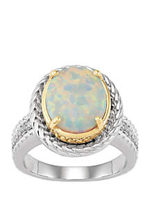 Belk & Co. Created Opal, 1/10 ct t.w Diamonds Ring in Sterling Silver and 14k Yellow Gold
