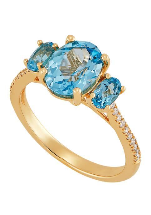 2.13 ct. t.w. Blue Topaz and 1/6 ct. t.w. Diamond Ring in 10K Yellow Gold