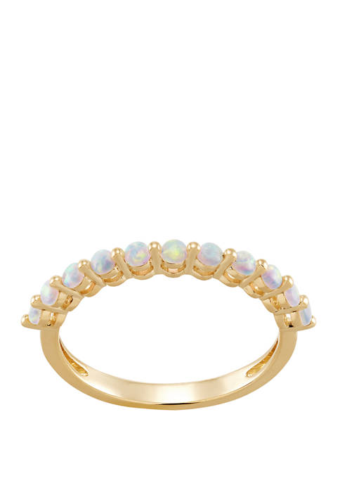 10K Yellow Gold Created Opal Ring