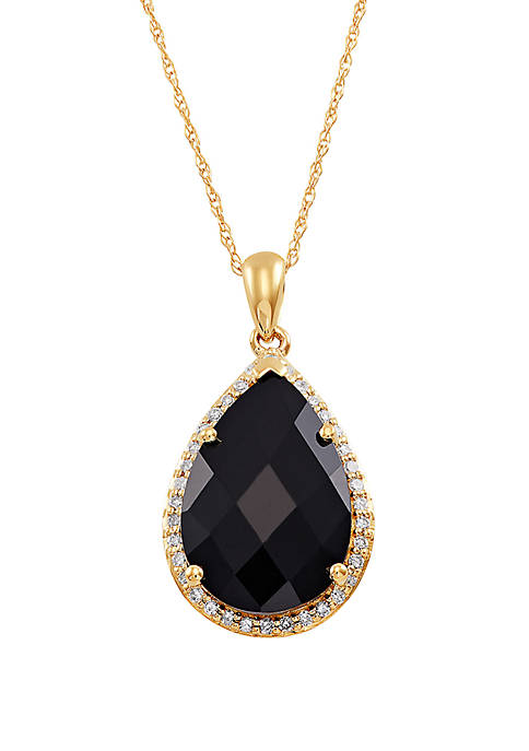 6 ct. t.w. Onyx Pendant with 1/6 ct. t.w. Diamonds in 10K Yellow Gold