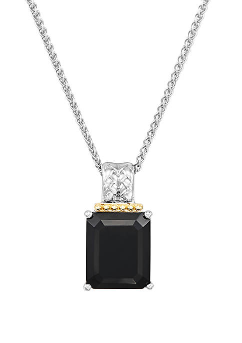 Onyx Pendant Necklace in Sterling Silver/14k Yellow Gold