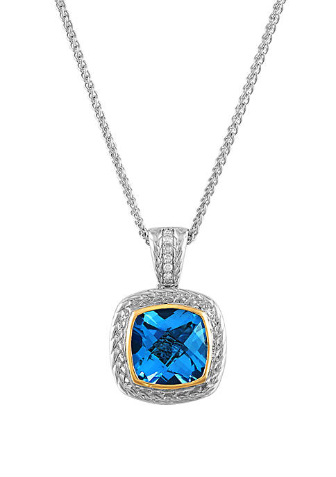 0.03 ct. t.w. Diamond and Swiss Blue Topaz Pendant in Sterling Silver/14k Yellow Gold