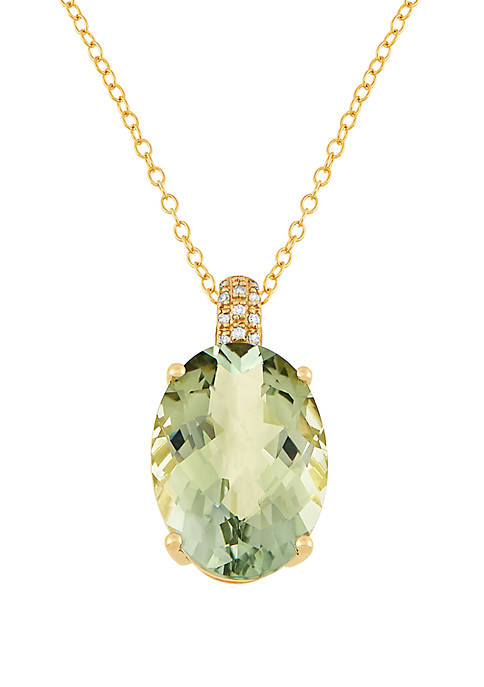 12.5 ct. t.w. Green Amethyst, 0.05 ct. t.w. Diamonds Pendant Necklace in 10k Yellow Gold