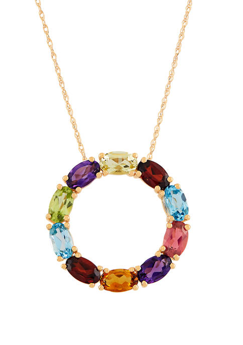 Multi Stone Pendant Necklace in 10K Yellow Gold