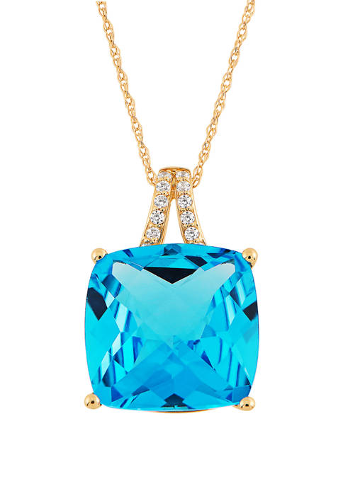 8.7 ct. t.w. Sky Blue Topaz and 1/10 ct. t.w. Diamond Pendant Necklace in 10K Yellow Gold