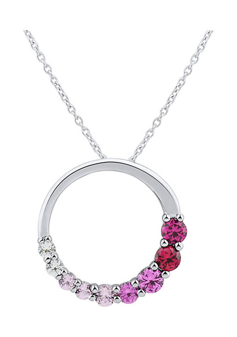 3/4 ct. t.w. Multi Stone Pendant Necklace in Sterling Silver