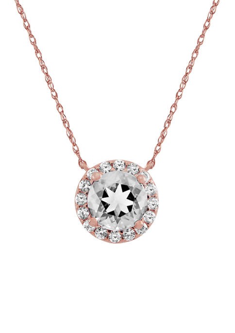 1.9 ct. t.w. Lab Created White Sapphire Circle Pendant Necklace in 10k Gold