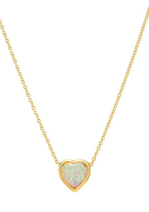 Belk & Co. Created Opal Heart Pendant Necklace