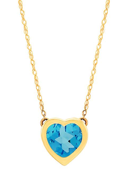 Belk & Co. Blue Topaz Heart Pendant Necklace