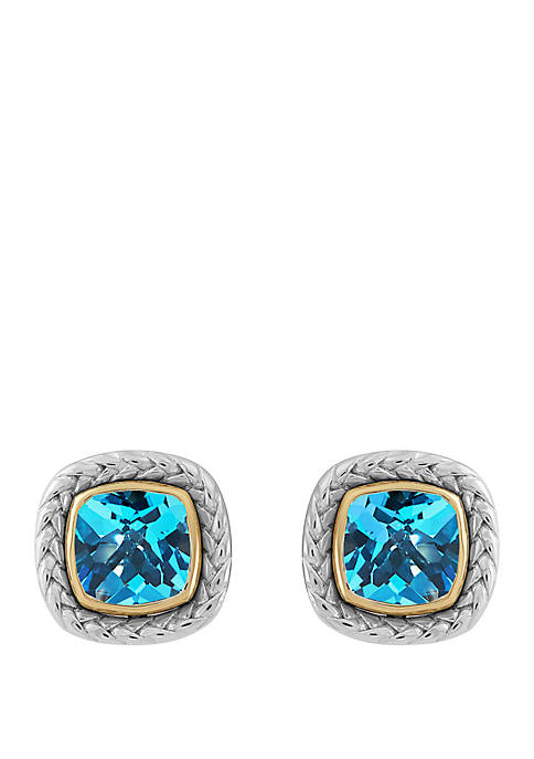 Swiss Blue Topaz Earrings in Sterling Silver and 14k Yellow Gold