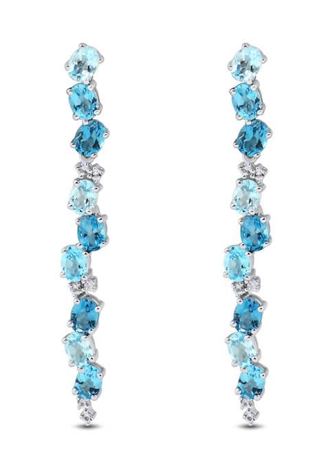 Sky Blue Topaz,Swiss Blue Topaz,London Blue Topaz and White Topaz Earrings in Sterling Silver