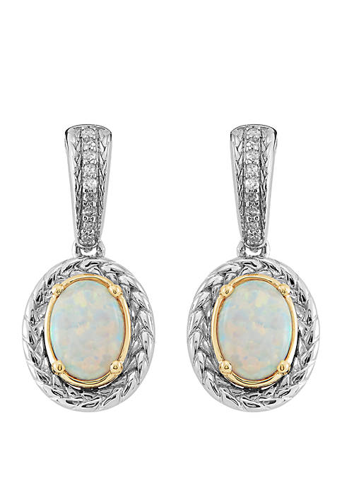 Created Opal 1/10 ct. t.w. Diamond Earrings in Sterling Silver and 14k Yellow Gold