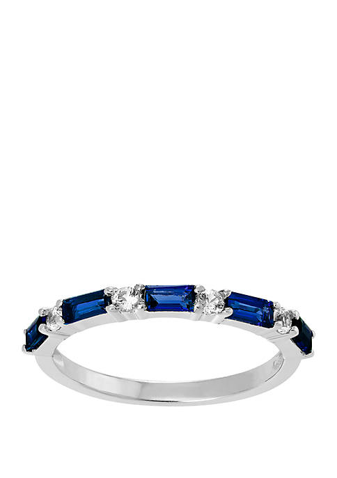 Created Sapphire Band Ring in Sterling Silver