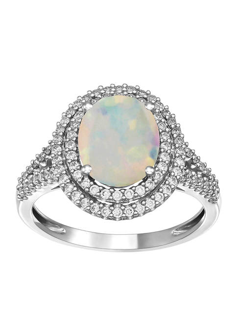 Created Opal and Sapphire Ring