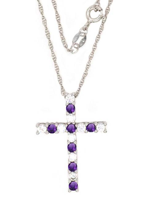 Belk & Co. Amethyst Cross Pendant Necklace in