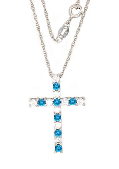 Belk & Co. Blue Topaz Cross Pendant Necklace