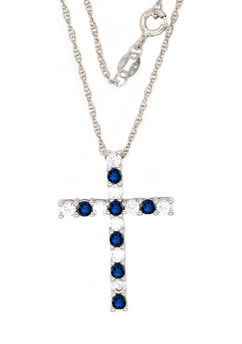 Sapphire Cross Pendant Necklace in Sterling Silver