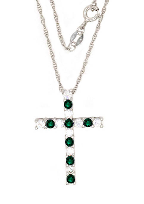 Belk & Co. Emerald Cross Pendant Necklace in