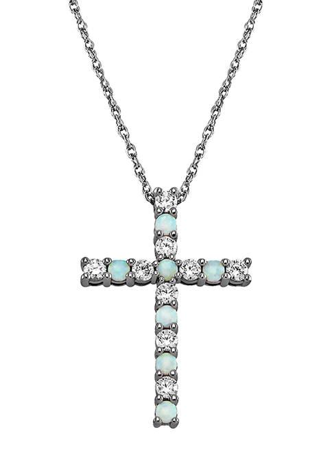 Belk & Co. Created Opal Cross Pendant Necklace