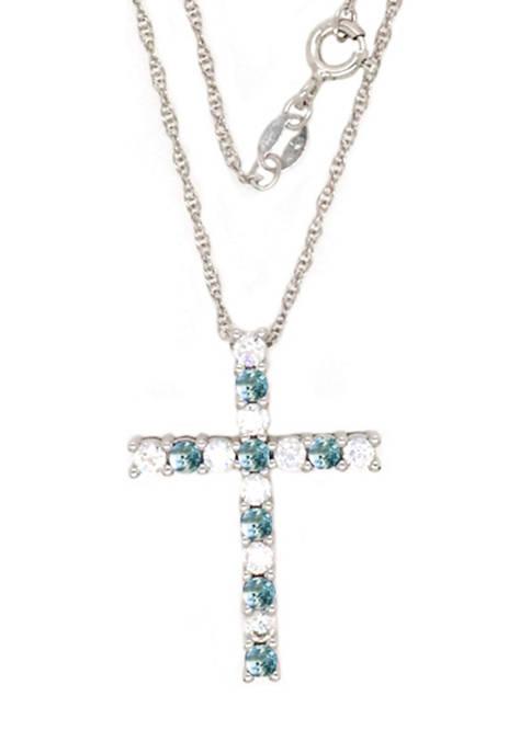 Belk & Co. Aquamarine Cross Pendant Necklace in