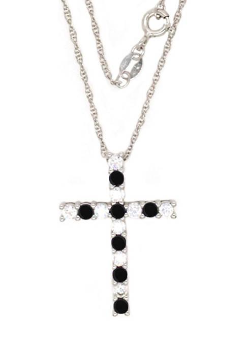 Belk & Co. Onyx Cross Pendant Necklace in