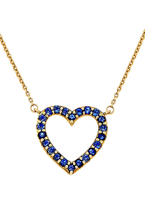 Belk & Co. Created Sapphire Heart Pendant Necklace