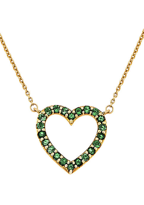Created Emerald Heart Pendant Necklace in 10k Yellow Gold