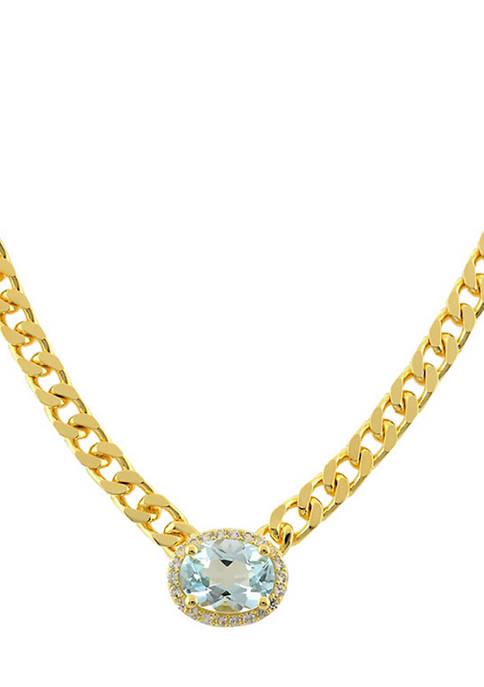 Belk & Co. Blue Topaz Necklace in Gold