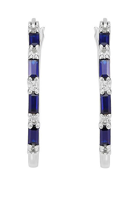 Belk & Co. Sapphire Created Hoop Earrings in