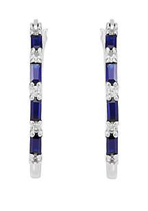 Belk & Co. Sapphire Created Hoop Earrings in Sterling Silver