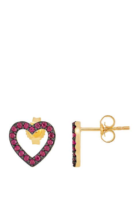 Created Ruby Heart Stud Earrings in 10K Gold