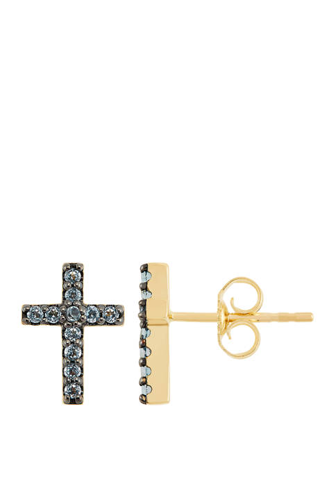 Swiss Blue Topaz Cross Stud Earrings in 10K Gold