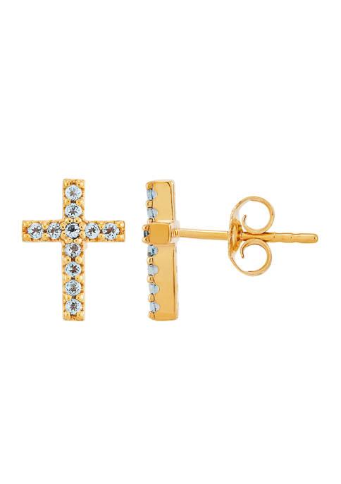 1/5 ct. t.w. Swiss Blue Topaz Cross Earrings in 10K Gold