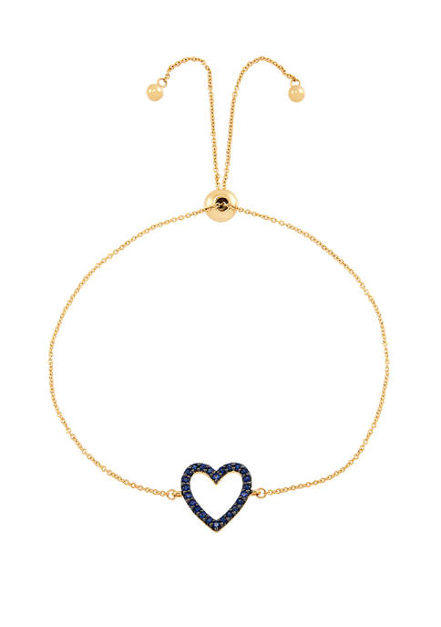 Created Sapphire Heart Chain Bracelet in 10K Gold