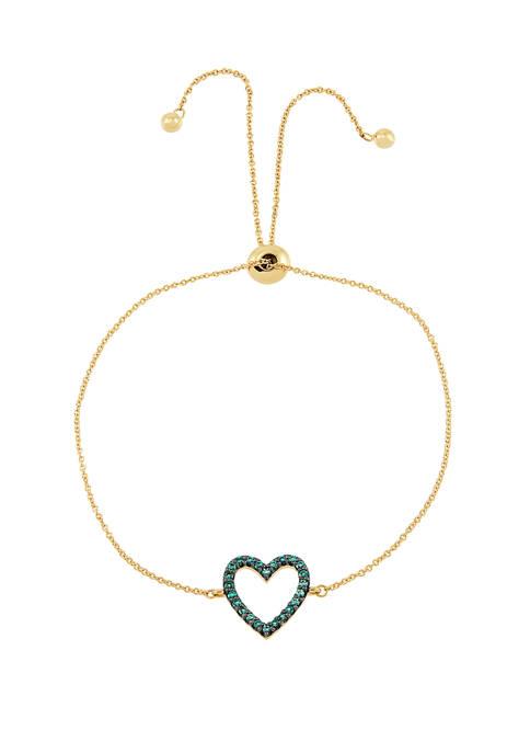 Created Emerald Heart Chain Bracelet in 10K Gold