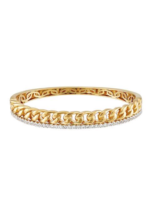 Belk & Co. White Topaz Bangle in Gold