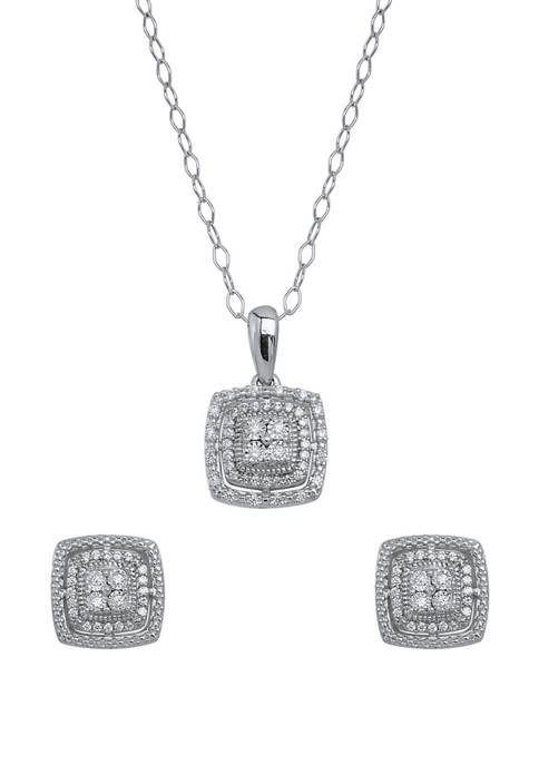 1/4 ct. t.w. Diamond Stud Earrings and Necklace Set in Sterling Silver