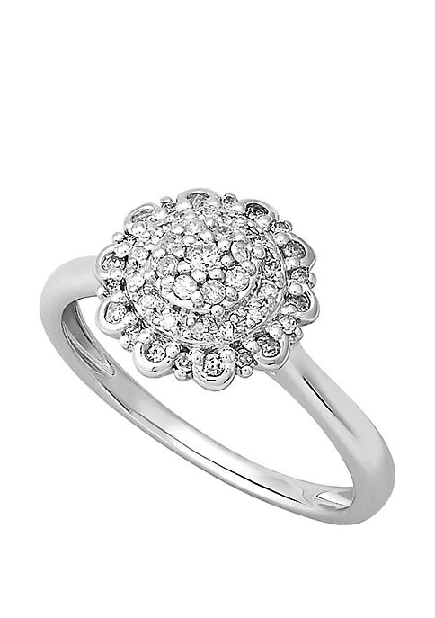 1/4 ct. t.w. Diamond Flower Ring in Sterling Silver
