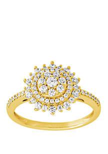 Belk & Co. 1/2 ct. t.w. Diamond Flower Ring in 10k Yellow Gold