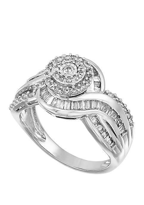 0.75 ct. t.w. Diamond Baguette Ring in 10k White Gold