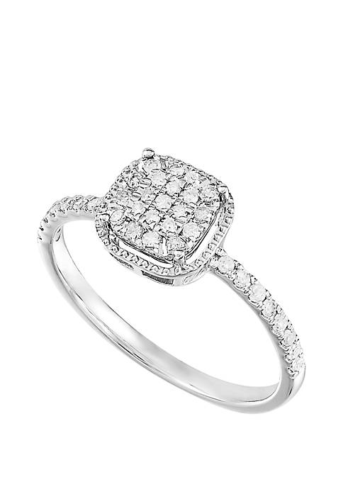 1/4 ct. t.w. Diamond Cushion Cluster Ring in Sterling Silver