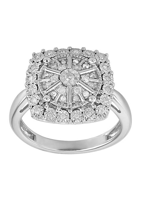 1/4 ct. t.w. Square Diamond Ring in Sterling Silver