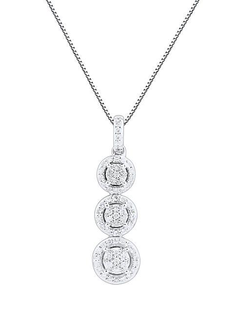 1/4 ct. t.w. Diamond Composite Three Stone Halo Pendant Necklace in 10k White Gold