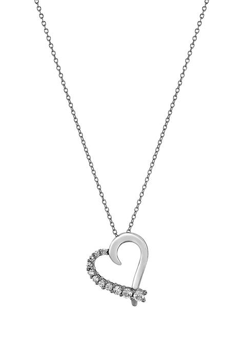 1/2 ct. t.w. Lab Created Diamond Heart Pendant Necklace in Sterling Silver